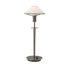 Halogen Table Lamp with White Glass Shade