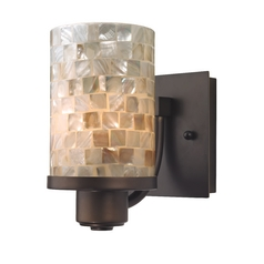 Design Classics Lighting Bronze Wall Sconce with Mosaic Glass 589-220 GL1026C