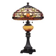 Table Lamp with Multi-Color Glass in Imperial Bronze Finish