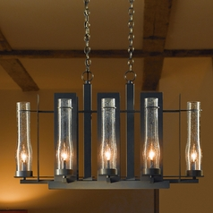 Seeded Glass Chandelier Bronze Hubbardton Forge Lighting