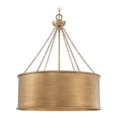 Savoy House Lighting Rochester Gold Patina Pendant Light with Drum Shade