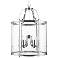 Golden Lighting Payton Chrome Pendant Light with Cylindrical Shade
