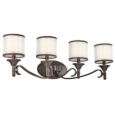 Kichler Bathroom Light with White Glass in Mission Bronze Finish