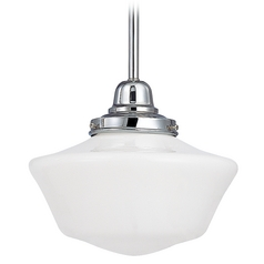 Design Classics Lighting 10-Inch Chrome Schoolhouse Mini-Pendant Light FB4-26 / GA10