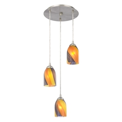 Design Classics Lighting Modern Multi-Light Pendant Light with Art Glass and 3-Lights 583-09 GL1015D