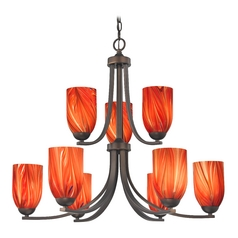 Modern Chandelier with Red Glass in Neuvelle Bronze Finish