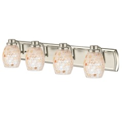 4-Light Bathroom Light with Mosaic Glass in Satin Nickel