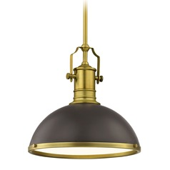 Industrial Metal Pendant Light Bronze / Brass  13.38-Inch Wide
