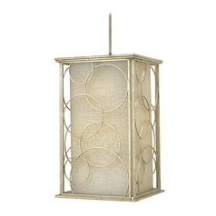Pendant Light with Beige / Cream Shades in Silver Leaf Finish