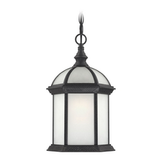Outdoor Hanging Light with White Glass in Textured Black Finish