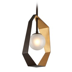 Troy Lighting Origami Bronze / Gold Leaf LED Pendant Light with Globe Shade