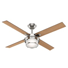 Hunter 52-Inch Polished Nickel LED Ceiling Fan with Light with Hand Held Remote