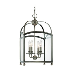 Pendant Light with Clear Glass in Historic Nickel Finish