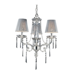 Mini-Chandelier with Beige / Cream Shades in Polished Silver Finish