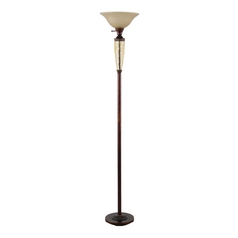 Torchiere Lamp with Beige / Cream Glass in Restoration Bronze Finish