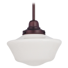 Design Classics Lighting 10-Inch Bronze Schoolhouse Mini-Pendant Light FB4-220 / GA10