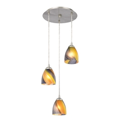 Design Classics Lighting Modern Multi-Light Pendant Light with Art Glass and 3-Lights 583-09 GL1015MB
