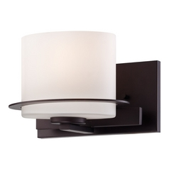 Sconce Wall Light with White Glass in Venetian Bronze Finish