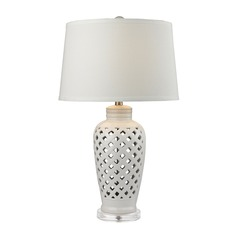 Dimond Lighting White Table Lamp with Empire Shade