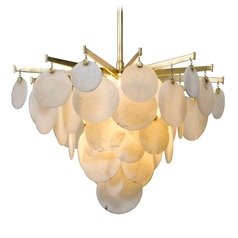 Modern Art Deco LED Pendant Light Gold Leaf Serenity by Corbett Lighting
