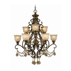 Crystal Chandelier with Amber Glass in Bronze Umber Finish