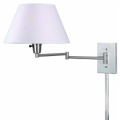 Modern Swing Arm Lamp with Beige / Cream Shade in Brushed Steel Finish