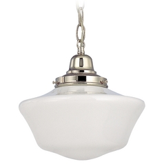 Design Classics Lighting Polished Nickel 10-Inch Schoolhouse Mini-Pendant Light FB4-15 / GA10 / B-15