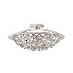 Crystal Bowl Ceiling Light in Polished Nickel Finish - Three-Lights