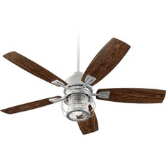 Quorum Lighting Galveston Galvanized Ceiling Fan with Light