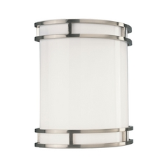 Progress Modern Sconce Wall Light with White in Brushed Nickel Finish