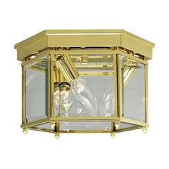 Progress Close To Ceiling Light with Clear Glass in Polished Brass Finish P3730-10