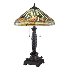 Table Lamp with Tiffany Glass Shade in Western Bronze Finish