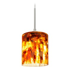 Besa Lighting Falla Satin Nickel LED Mini-Pendant Light with Cylindrical Shade