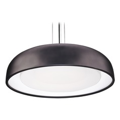 Modern Black LED Pendant with Frosted Shade 3000K 966LM