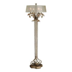 Floor Lamp with Beige / Cream Shade in Burnished Gold Finish
