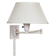 Modern Swing Arm Lamp with White Shade in White Finish