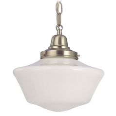 10-Inch Retro Style Schoolhouse Mini-Pendant Light in Satin Nickel