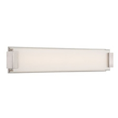Modern LED Vertical Bathroom Light with White Glass in Brushed Nickel Finish