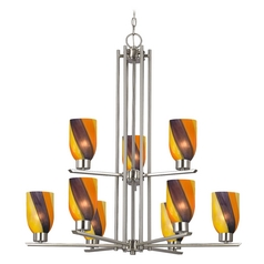 Chandelier with Art Glass in Satin Nickel - 9-Lights