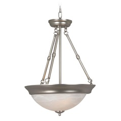 Craftmade Brushed Satin Nickel Pendant Light with Bowl / Dome Shade