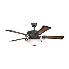 Kichler Lighting Rochelle Distressed Black Ceiling Fan with Light