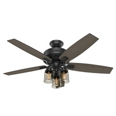 Hunter 52-Inch Matte Black LED Ceiling Fan with Light with Hand Held Remote