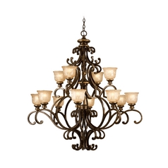 Chandelier with Amber Glass in Bronze Umber Finish