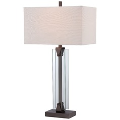 George Kovacs Portables Harvard Court Bronze Table Lamp with Rectangle Shade