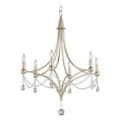 Currey and Company Lighting Etiquette Chinois Antique Silver Leaf Chandelier