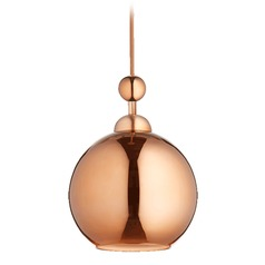 Quorum Lighting Satin Copper Mini-Pendant Light with Globe Shade