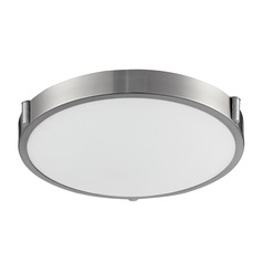 Modern Brushed Nickel LED Flushmount Light with White Opal Shade 3000K 700LM