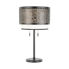 Quoizel Lighting Table Lamp with Beige / Cream Shades in Mystic Black Finish UT6126K