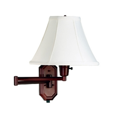 Swing Arm Lamp with White Shade in Bronze Finish