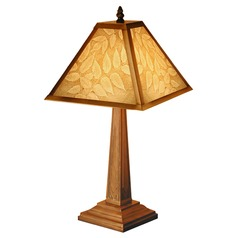Accent Table Lamp with Etched Leaves Porcelain Shade
